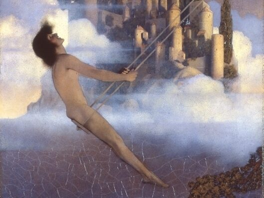 Early 20th-c painting of naked white person of uncertain gender with mid-length hair on a swing in front of a castle/clouds