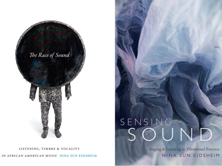 The covers of two of author Nina Sun Eidsheim's books side by side