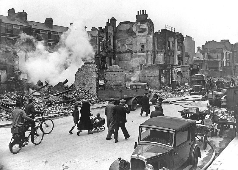 A photograph of a London street during WWII.