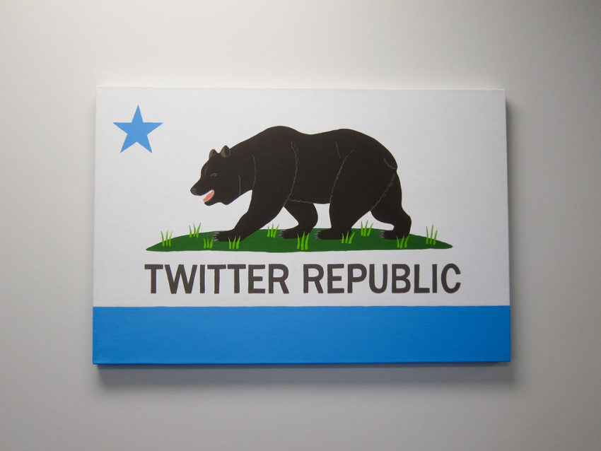 """A version of the California flag with """"Twitter"""" replacing """"California"""" in the banner's text section"""