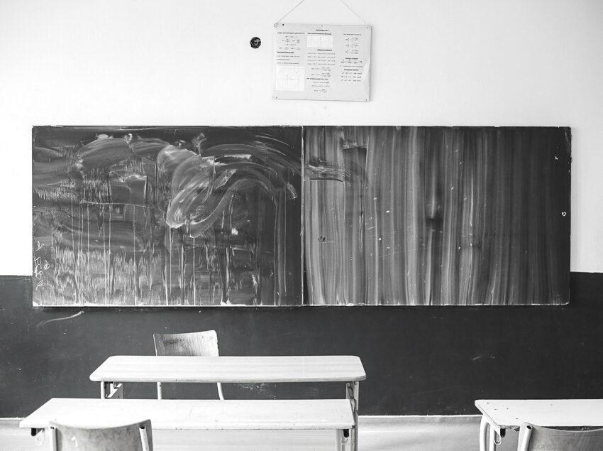 A chalkboard in a classroom