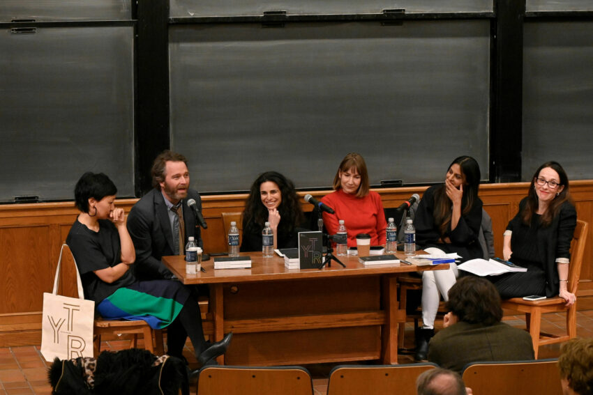 The Yale Review staff members seated around a table at a talk
