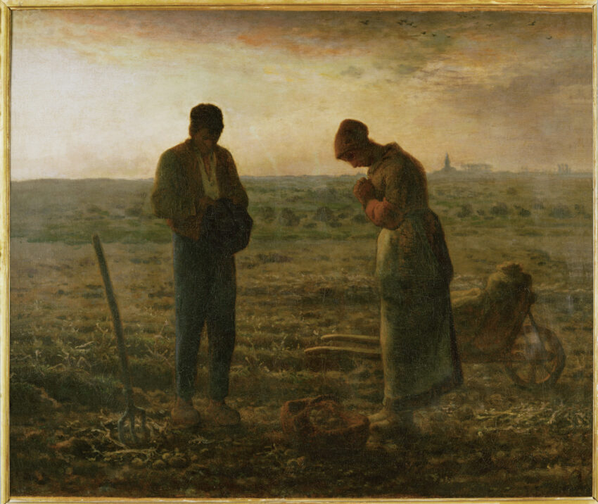 Painting showing a man and woman in a field