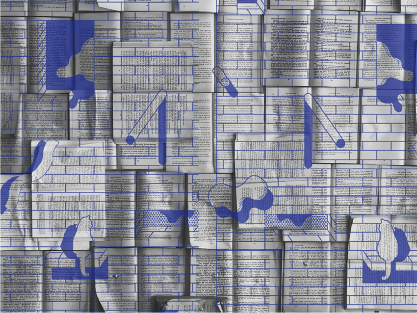 Graphic with book pages and blue designs of windows and cats