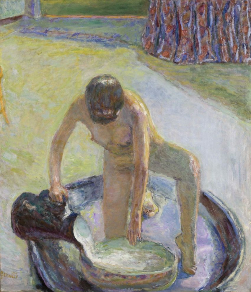 A painting by Pierre Bonnard showing his wife in the washbasin