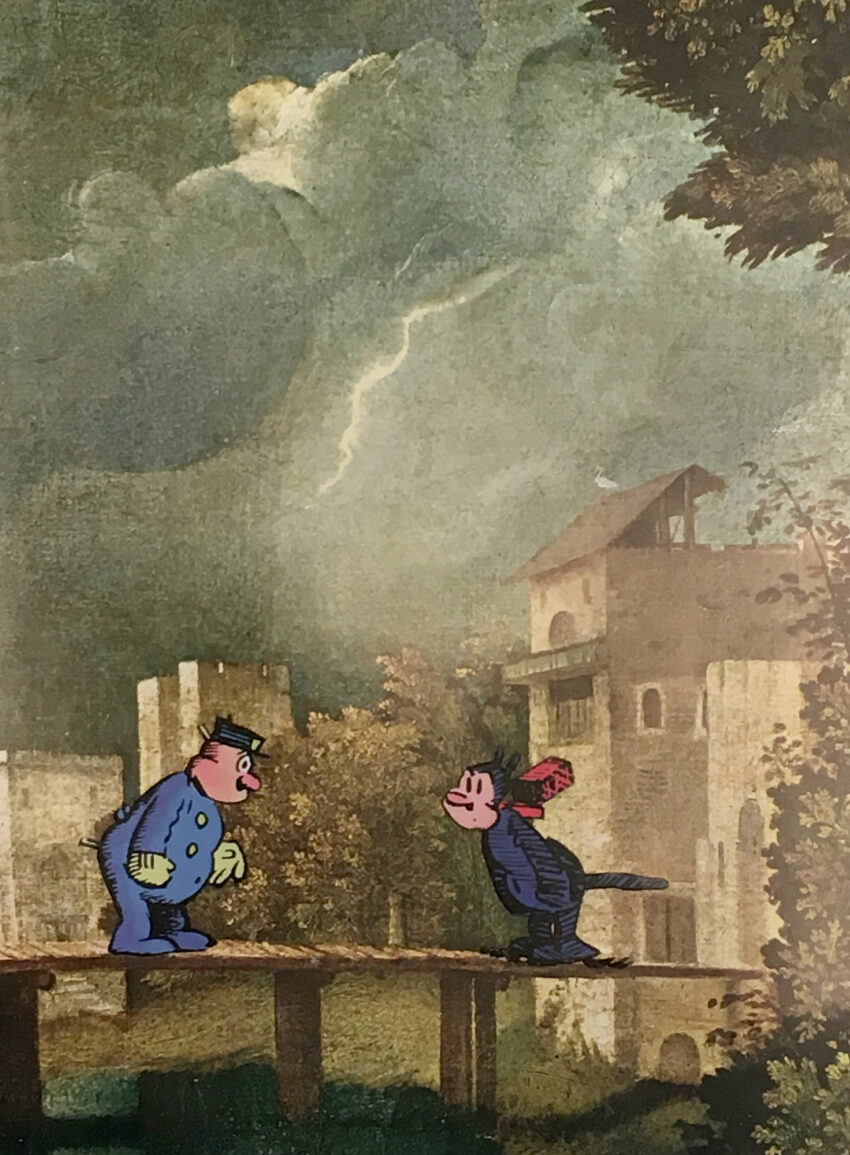 Two cartoon characters superimposed onto painting of a storm.