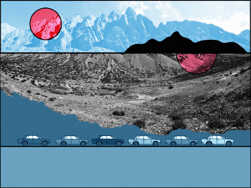Landscape with blue mountains, a pink sun, and graphic of cars at bottom of frame