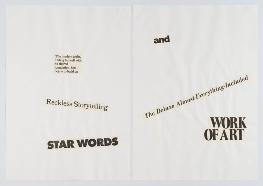 """collaged words on white background reading in part """"reckless storytelling star words and the deluxe almost-everything-inc..."""""""