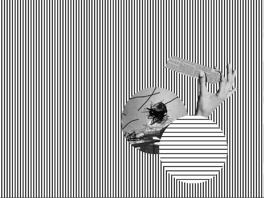 Black and white striped background with hand holding a shape with text on it.