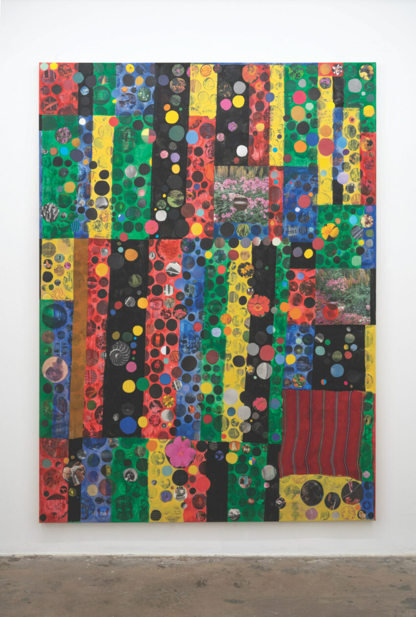 Abstract art with bright primary colors in rectangular shapes.