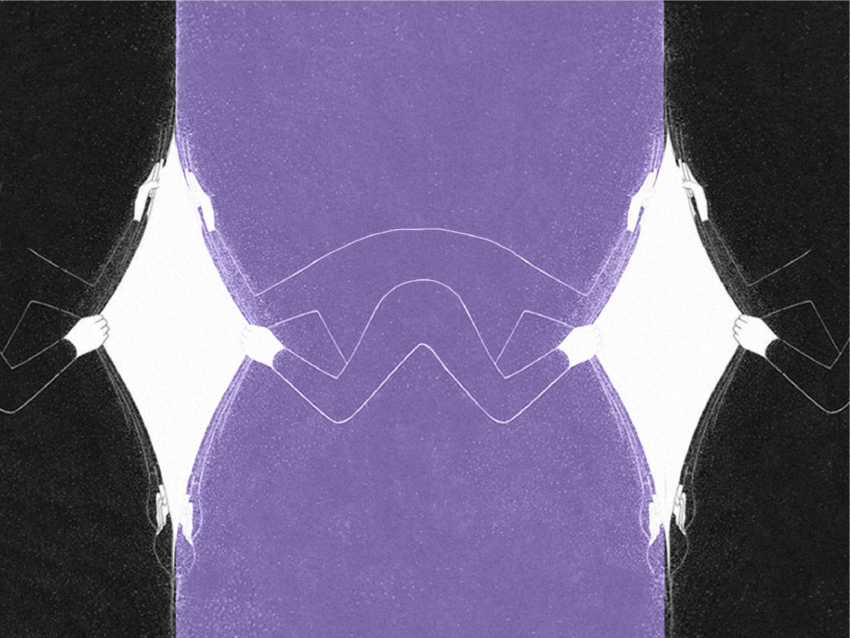 Graphic with alternating black and purple, and hands opening to a white space