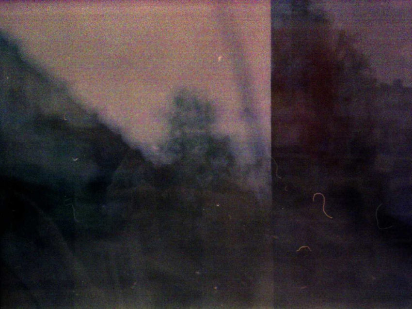 Blurred photograph of trees with barely distinguishable reflection of two people