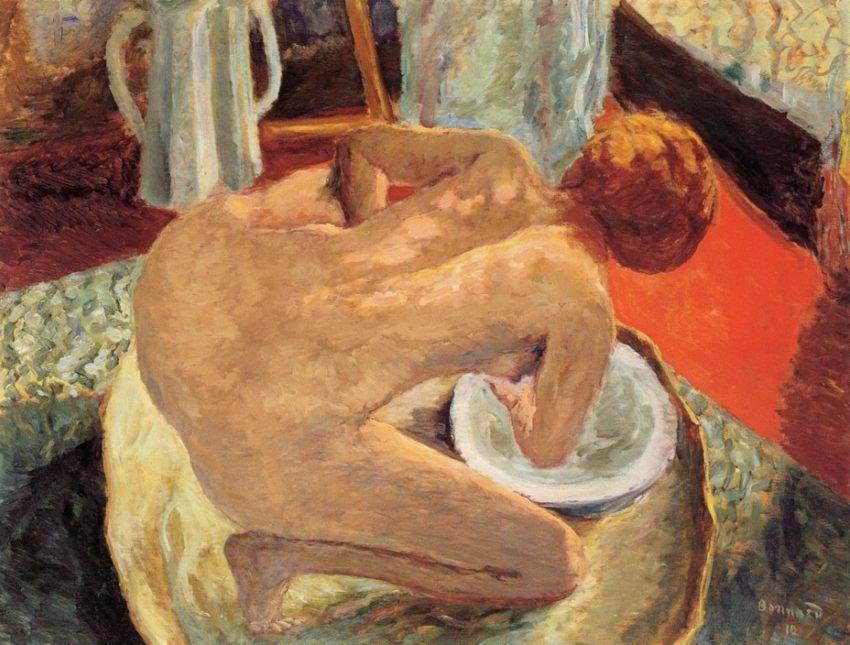 Fine art of a woman bathing