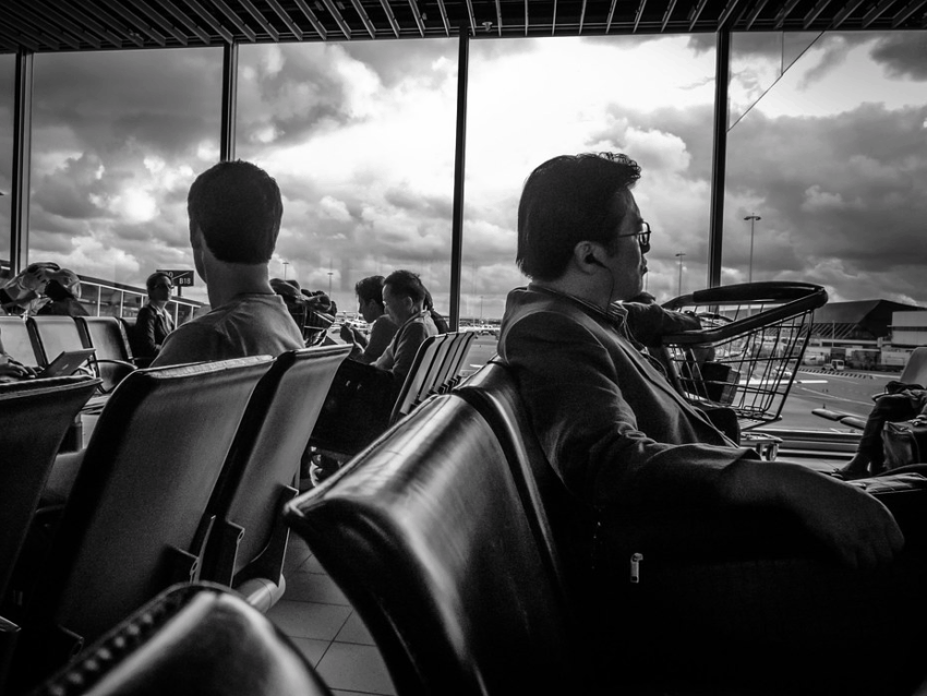 Men in an airport lounge