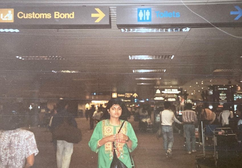 Meghana's mother at airport