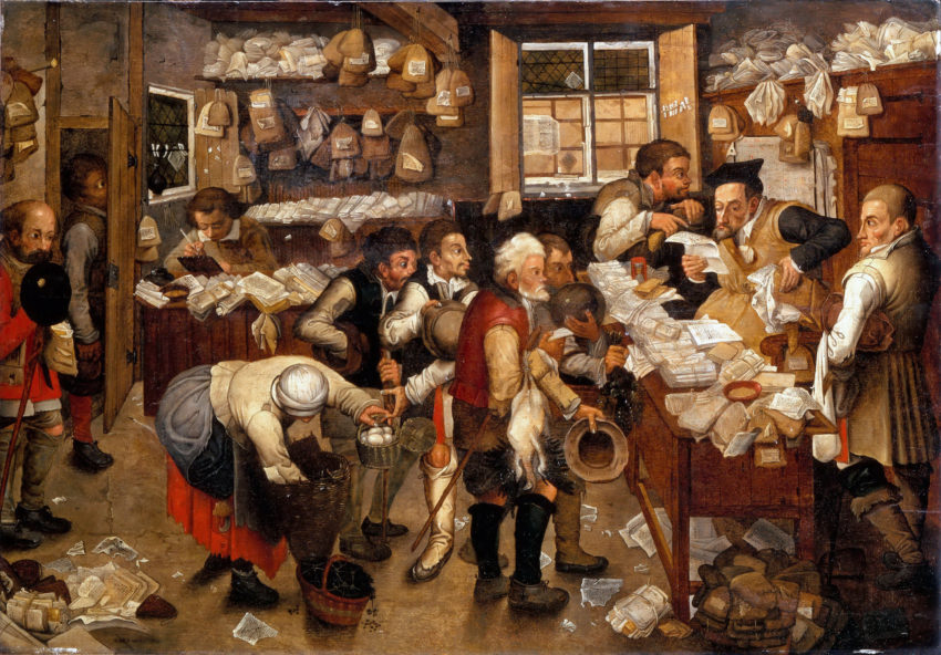 Flemish painting of people paying taxes