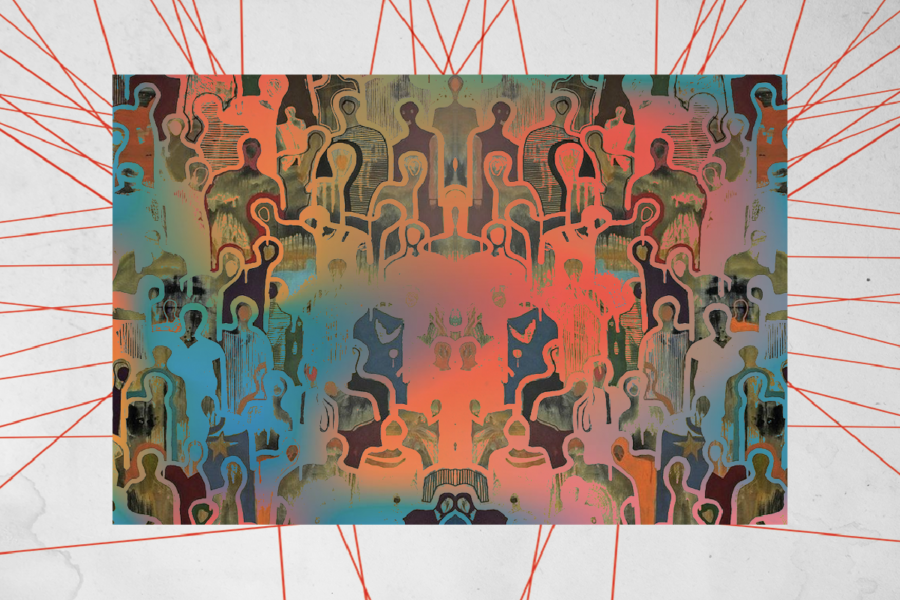 Graphic with red and orange patterns in the shape of a crowd. Illustration by Laura Padilla Castellanos.