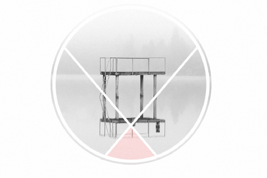 Graphic of a pier in a gray circle. Illustration by Laura Padilla Castellanos.