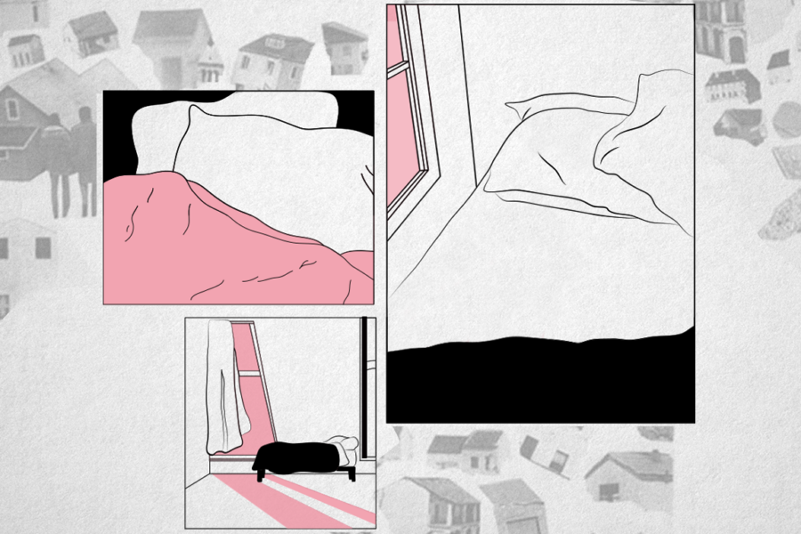 Graphic with drawings of beds