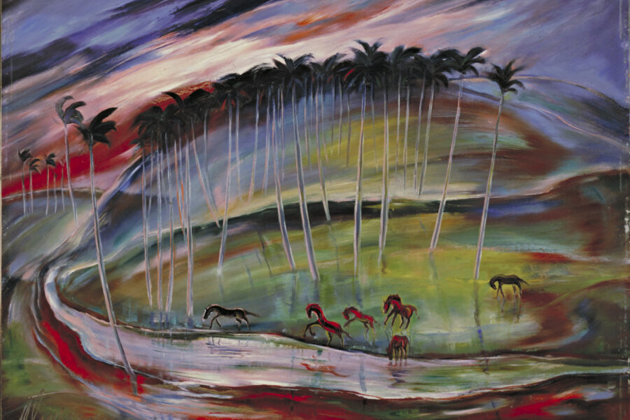 Painting of wild horses running on a multi-colored landscape.