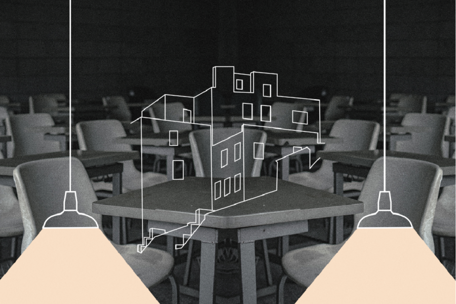 Black and white image of a cafeteria with illustration of a building and low-hanging lights superimposed.