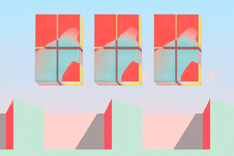 Graphic with three windows and a shadow crouched over in each. Illustration by Laura Padilla Castellanos.