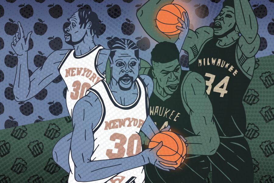 Graphic of basketball players Julius Randle and Giannis Antetokounmpo.