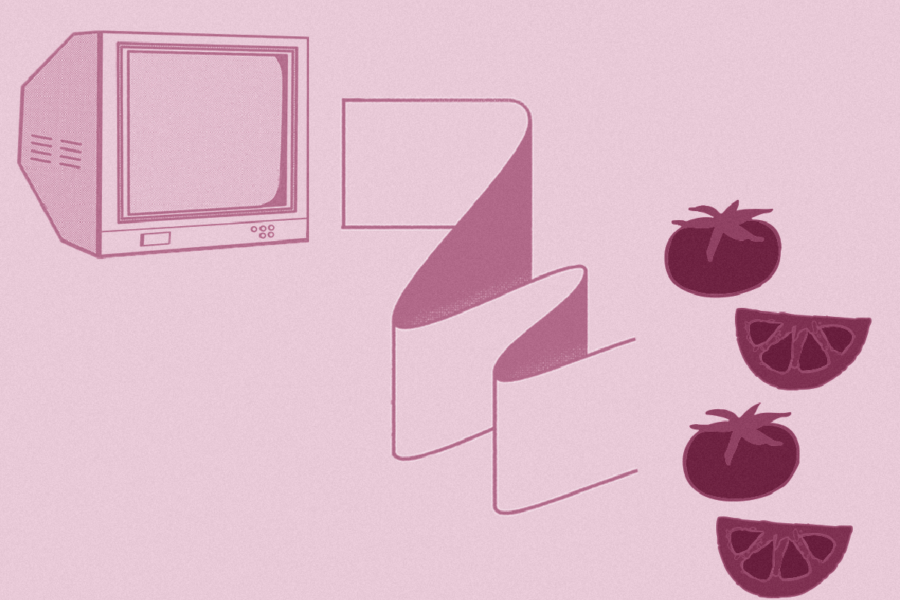 Graphic with computer monitor, paper, and tomatoes. Illustration by Laura Padilla Castellanos.
