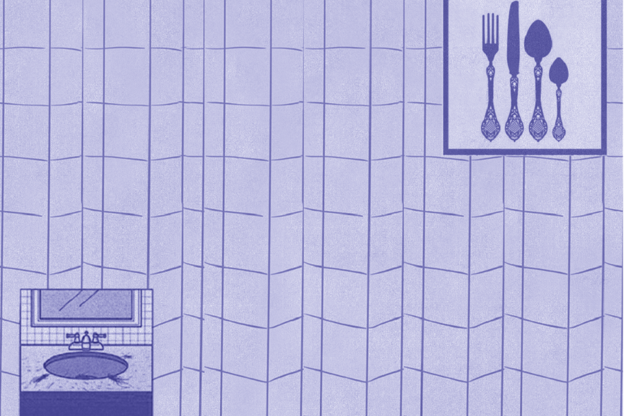 Graphic with image of sink and cutlery. Illustration by Laura Padilla Castellanos.