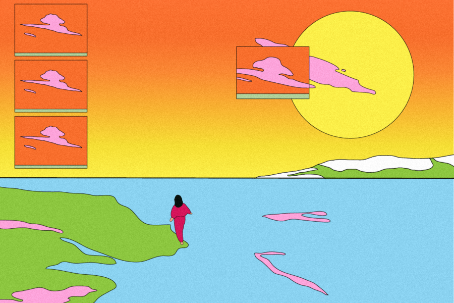 Graphic with scene of a person walking on a shoreline and a sunset. Illustration by Laura Padilla Castellanos