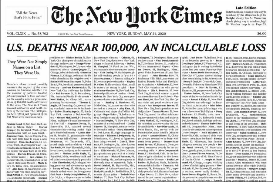 """New York Times Cover reading """"US Deaths near 100,000, an incalculable loss"""
