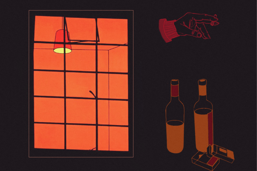 Graphic with a window with an orange glow, cigarettes, and wine bottles