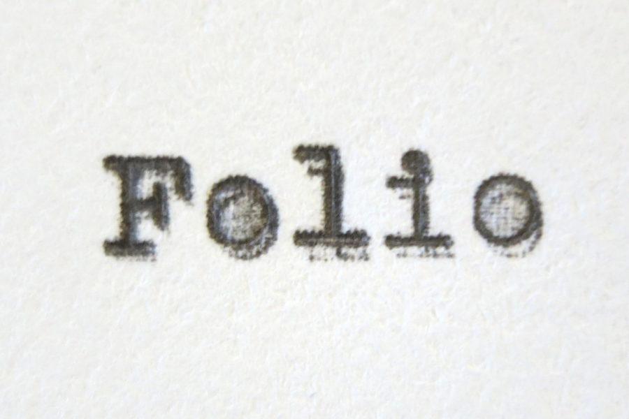 """""""Folio"""" in typewriter font"""
