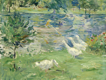 Painting of geese observing a rowboat. Gandalf's Gallery / Creative Commons