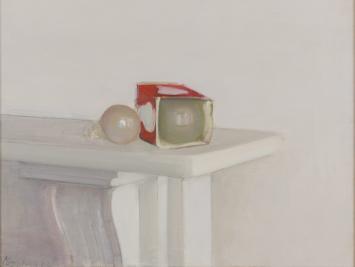 Rodrigo Moynihan, Light Bulbs, 1982, oil on canvas. Collection of Robert Becker. Courtesy of Kasmin Gallery.