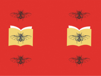Graphic with pattern of two yellow books and beetles. Illustration by Laura Padilla Castellanos.