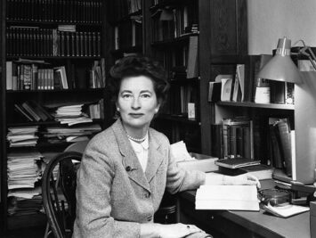 Portrait of Marie Borroff sitting at her desk