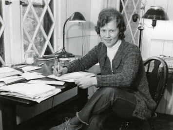 Jean Valentine at her desk