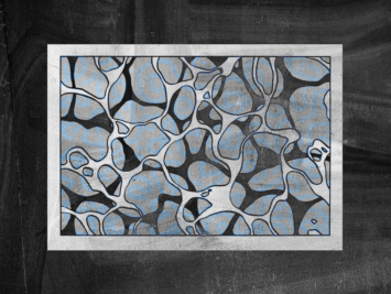 Graphic with blue white and black shapes in a black frame. Illustration by Laura Padilla Castellanos