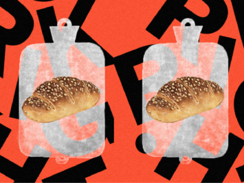 Graphic with loaves of bread and water bottles on a black and orange background. Illustration by Laura Padilla Castellanos