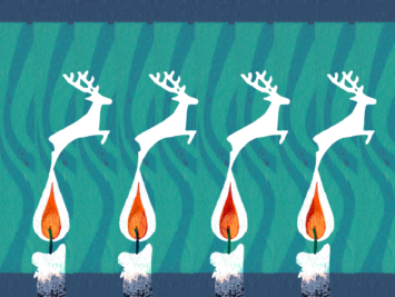 Graphic with four candles morphing into leaping reindeers. Illustration by Laura Padilla Castellanos.