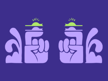 Purple graphic with cats resting on index fingers by Laura Padilla Castellanos