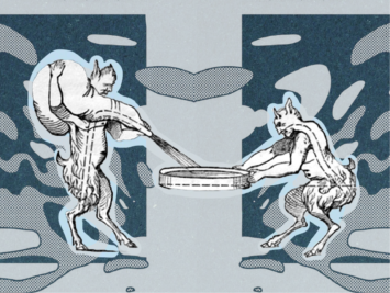 Illustration by Laura Padilla Castellanos. Two satyrs with a blue background.
