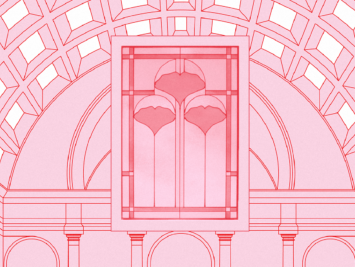 Graphic of a pink building with a coffered ceiling and a stained glass image of ginkgo leaves. Laura Padilla Castellanos.