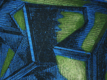 Green, blue, and white abstract shapes