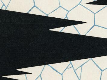 Black, white, blue abstract shapes. Detail from Watanabe Seitei, Illustration from Bijutsu Sekai, 1893–96. Courtesy rawpixel.