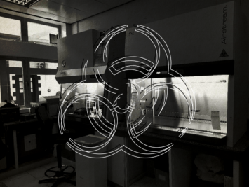 Illustration by Laura Padilla Castellanos. View of a lab with graphic of biohazard symbol.