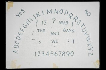 Ouija board. James Merrill Papers, Yale Collection of American Literature, Beinecke Rare Book and Manuscript Library.