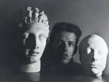 Merrill with Mask of Keats and Head of Hermes. Courtesy Washington University in St. Louis Special Collections.