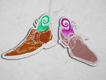 Graphic with shoes. Illustration by Laura Padilla Castellanos.